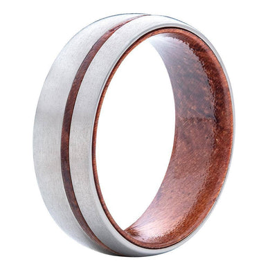 Brushed Titanium Wedding Band With Padauk Wood Stripe And Interior