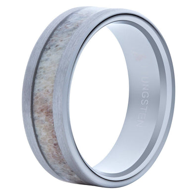 Brushed Tungsten Wedding Band With Deer Antler