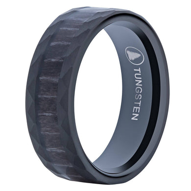 Hammered Black Tungsten Wedding Band With Black Apricot Wood