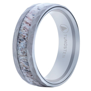 Hammered Tungsten Wedding Band With Deer Antler