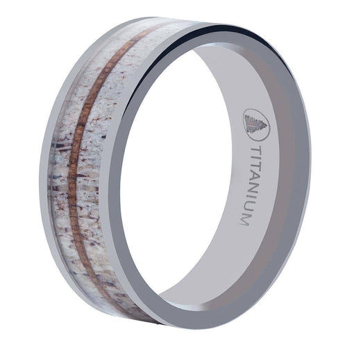 Polished Titanium Wedding Band With Contrasting Antler Design