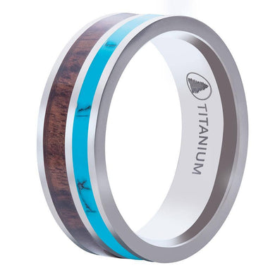 Polished Titanium Wedding Band With Turquoise and Pear Wood