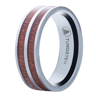 Polished Tungsten Wedding Band Flat Surface And Double Pear Wood