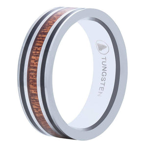 Polished Tungsten Wedding Band w/ Flat Surface And Pear Wood