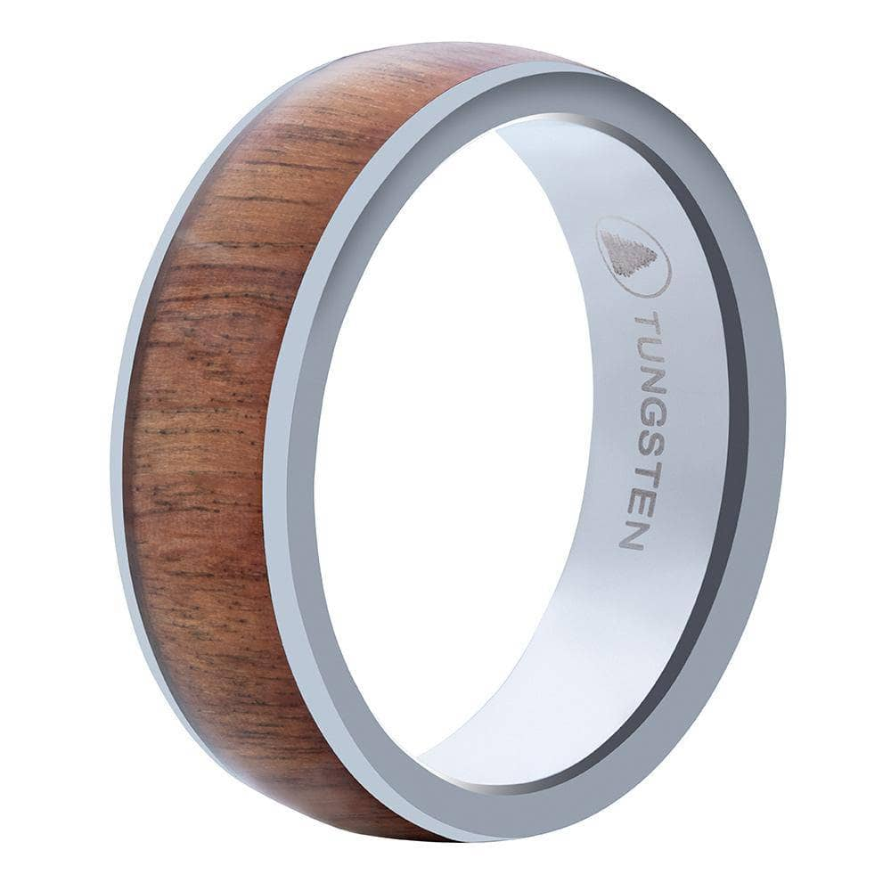 Polished Tungsten Wedding Band With Chestnut Wood