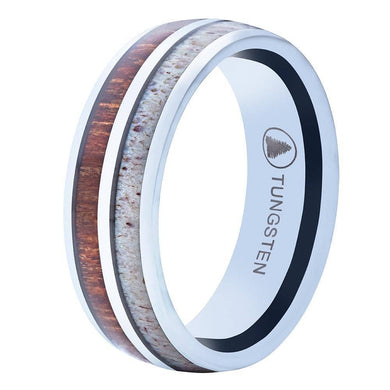 Polished Tungsten Wedding Band With Deer Antler And Koa Wood