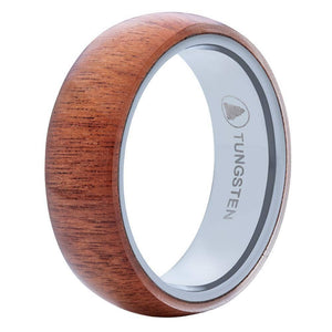 Polished Tungsten Wedding Band With Domed Chestnut Wood Exterior