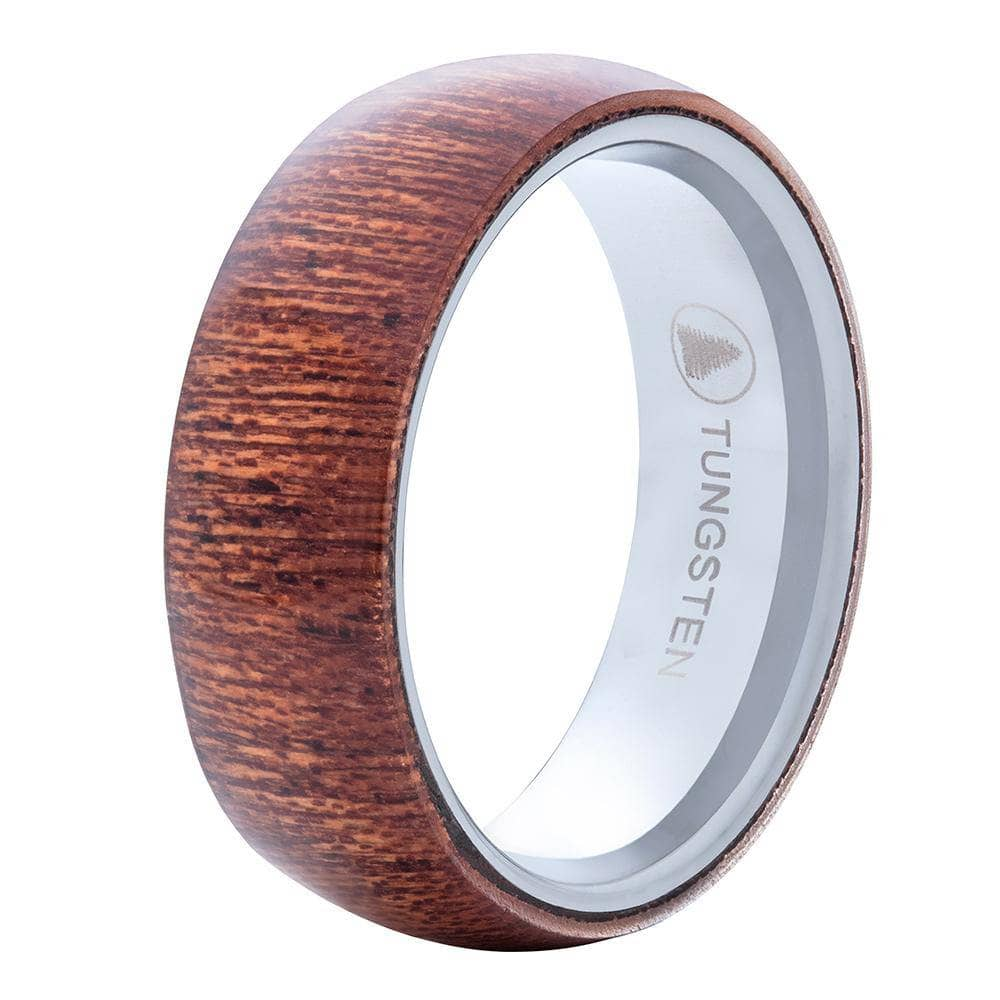 Polished Tungsten Wedding Band With Domed Dark Pear Wood Exterior