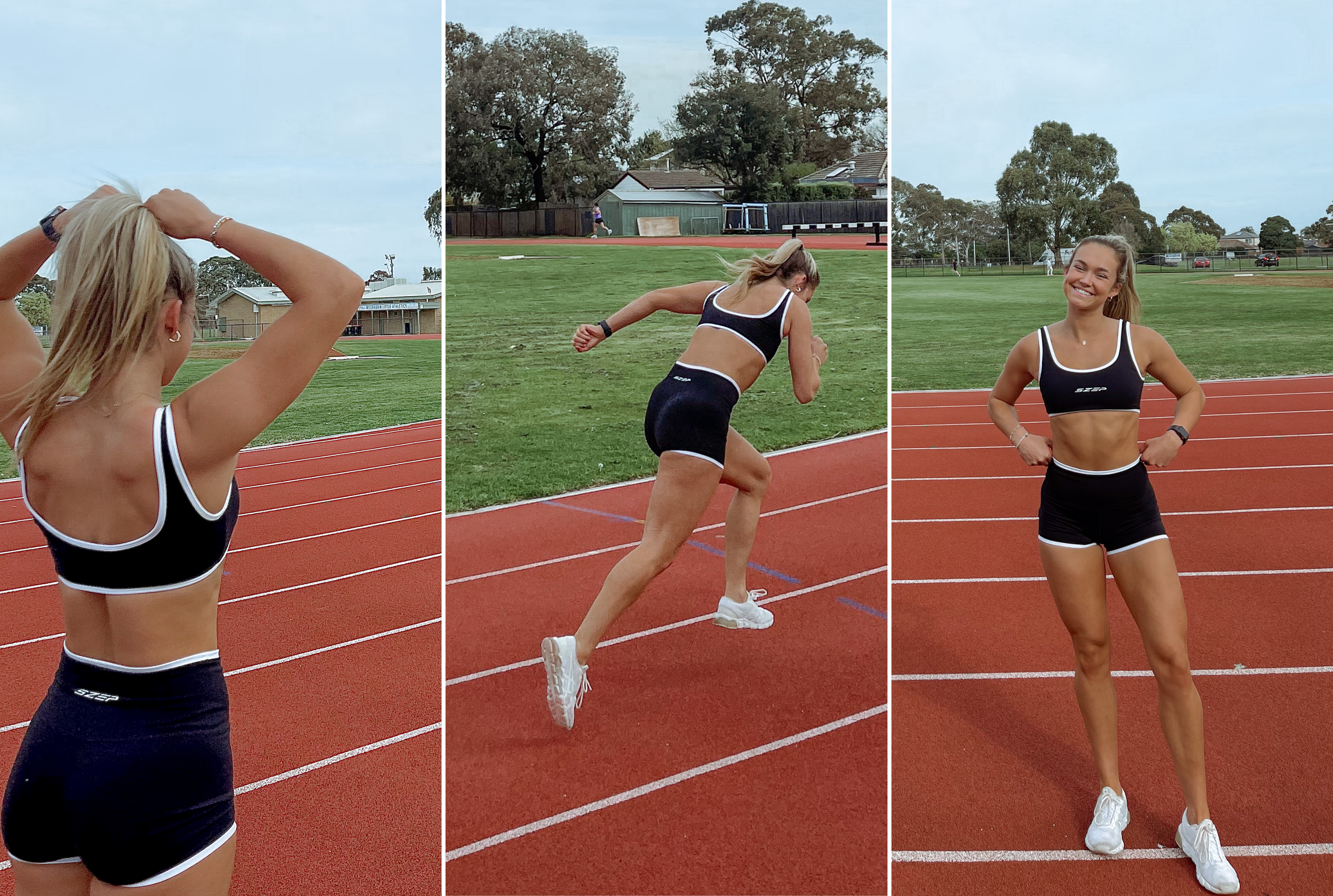 Track Star and athlete Olivia May wears the SZEP Monochrome Set
