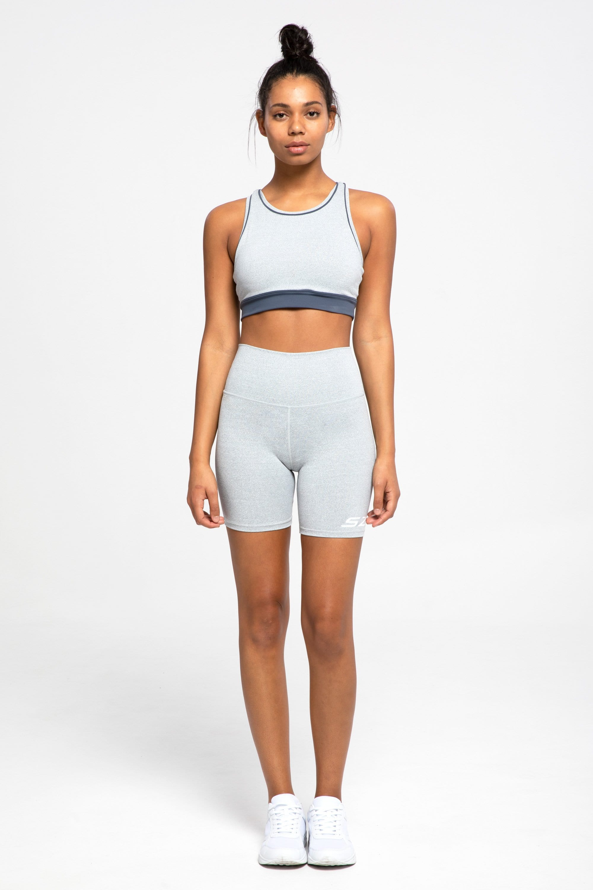 The Racer Back Crop (White Speckle)
