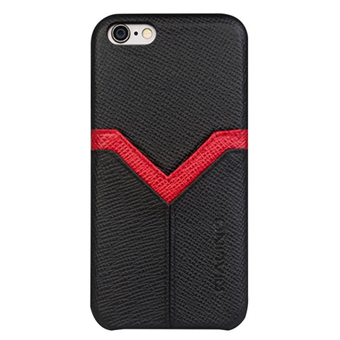 QIALINO V Pattern Printted Leather Phone Cases for iPhone 7/8 Hand-made Shockproof Anti-Fall Phone Shell Cases Cover