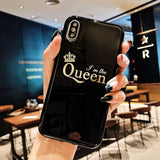 Glossy Crown Silicone Phone Case For Huawei P20 lite Pro Letter KING Back Cover Love Heart Cases On Honor 10 9 lite V10 Play T25