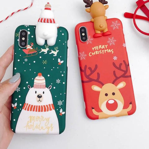 CHRISTMAS SNOWMAN & DEER THEME DESIGN PHONE CASE