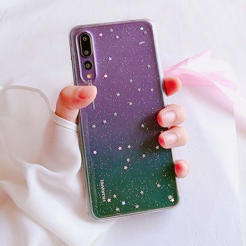 Soinmy Clear Soft TPU Case For Huawei p20 lite p20 plus silicone transparent Glitter Star back cover for huawei p20 pro case