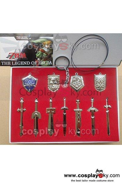 11 PCS The Legend of Zelda Weapons Pendants Key Chain