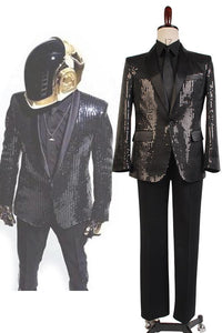 Daft Punk Sparking Black Sequin Performance Outfits Robot Cosplay Costume Black Version