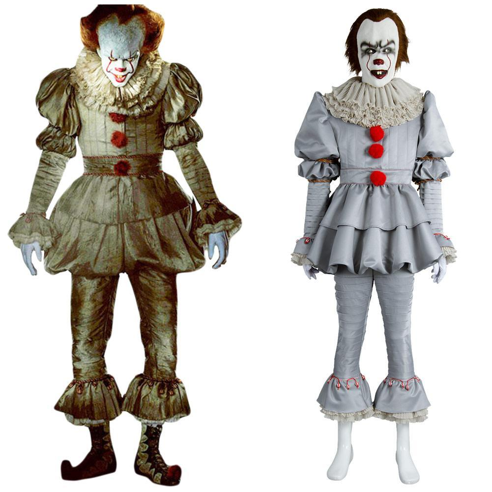 2017 IT Movie Pennywise The Clown Outfit Suit Halloween ...
