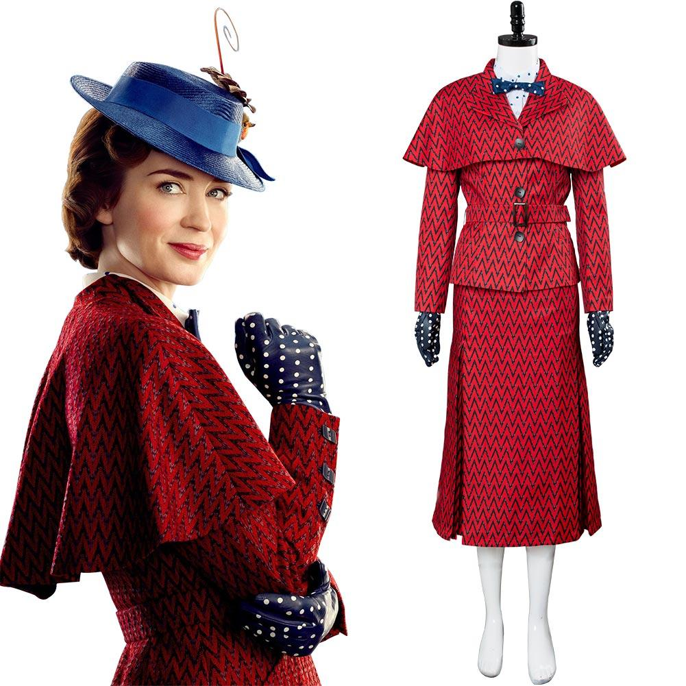 2018 Mary Poppins Returns Costume Mary Poppins Dress Hat Red Version