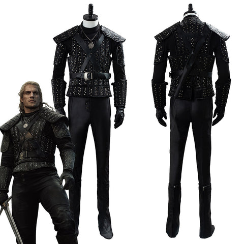 The Witcher Cavill Geralt  TV Show Suit Cosplay Costume