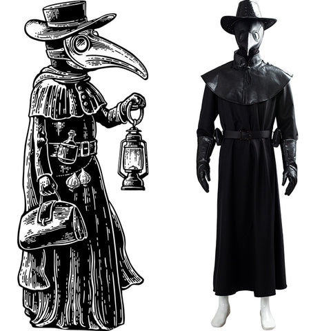 Steampunk Plague Doctor Brird Mask Cape Long Grown Hat Set Holloween Outfit Cosplay Costume
