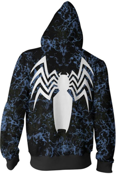 2018 Venom Symbiote Merchandies 3D Hoodie Zip Up Sweatshirt Unisex