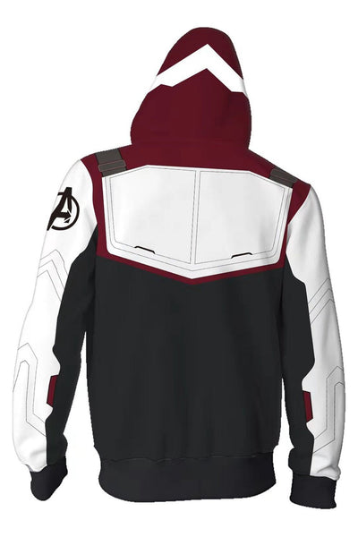 Avenger's Endgame Hoodie Quantum Realm Suit Zip Up Pullover Jacket Sweatshirt For Adults