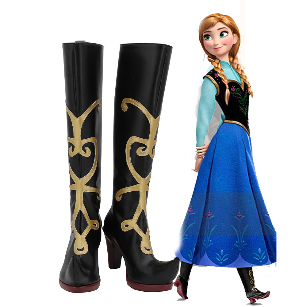 Frozen Snow Princess Anna Cosplay Shoes Boots Halloween Costumes Accessory Custom Made