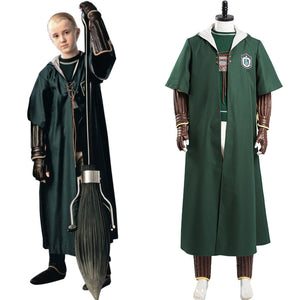 Harry Potter Halloween Carnival Suit Slytherin Green Quidditch Cosplay Costume Magic Shool Uniform Outfits