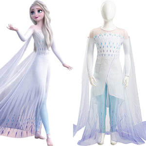 Frozen 2 Elsa Cosplay Costume Kid Child Ver Ahtohallan White Snow Ice Flake Dress