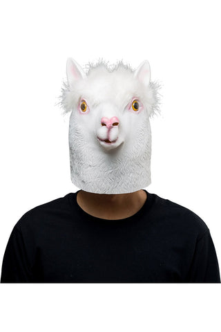 White Alpaca Sheep Mask Halloween Animal Latex Masks Full Face Mask Adult Cosplay Props