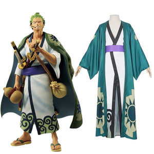 One Piece Roronoa Zoro Kimono Robe Full Suit Outfit Cosplay Costume Halloween Carnival Costume