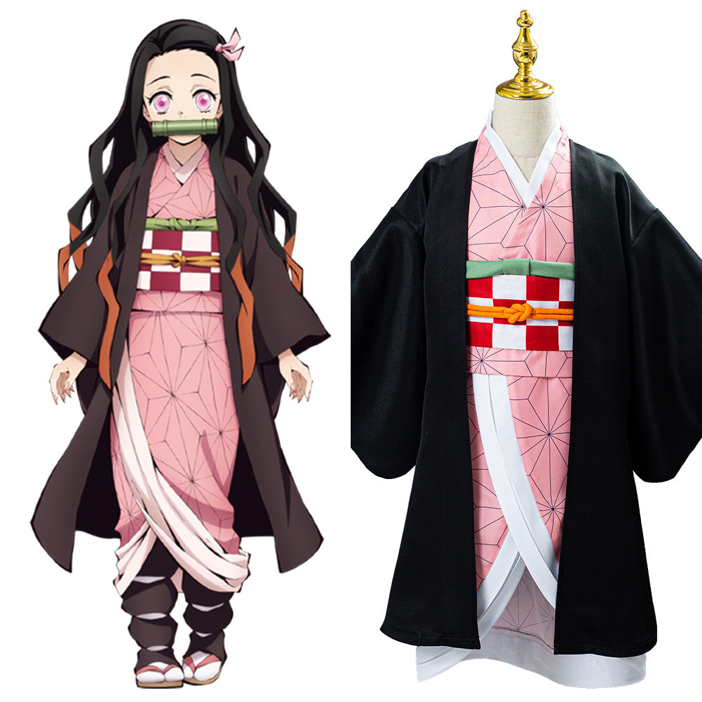 Kamado Nezuko Anime Demon Slayer Kimetsu no Yaiba Kids Children Uniform Outfits Cosplay Costume