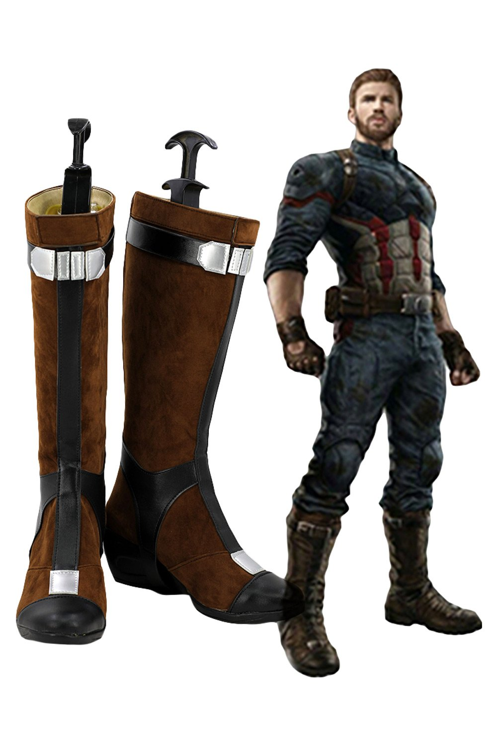 Avengers Infinity War Captain America Cosplay Shoes Boots Version 2