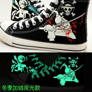 One Piece Zoro Sanji Cosplay shoes Canvas Shoes Lumious Shoes