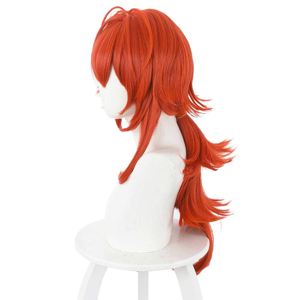 Anime Genshin Impact Carnival Halloween Party Props Diluc Ragnvindr Cosplay Wig Heat Resistant Synthetic Hair