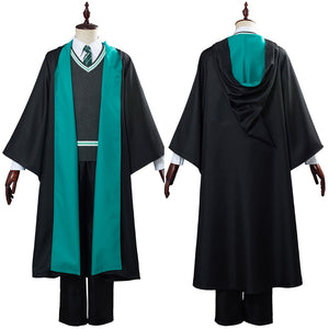 Harry Potter Slytherin Robe Cloak Outfit School Uniform Cosplay Costume Halloween Carnival Costume