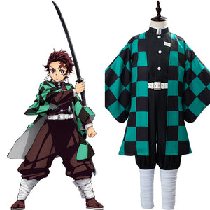 Kamado Tanjirou Anime Demon Slayer Kimetsu no Yaiba Kids Children Uniform Outfits Cosplay Costume