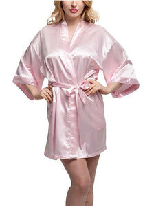 Maid of Honor Silk Pink Long Robe Bathrobe Costume
