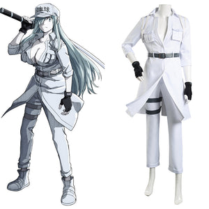 Cells at Work! Halloween Carnival Suit Code Black/Hataraku Saibou Black -Hakkekkyuu/White Blood Cell Cosplay Costume Coat Pants Outfits
