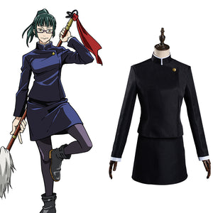 Anime Jujutsu Kaisen Halloween Carnival Suit Maki Zenin Cosplay Costume Uniform Skirt Outfit