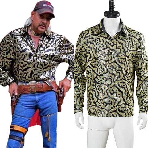 Tiger King Adult Men Shirt Joe Exotic Cosplay Costume Halloween Carnival Costume