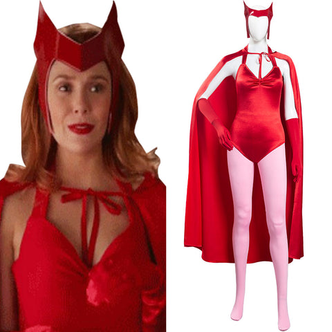 Wanda Vision Scarlet Witch Women Jumpsuit Outfit Wanda Maximoff Halloween Carnival Suit Cosplay Costume