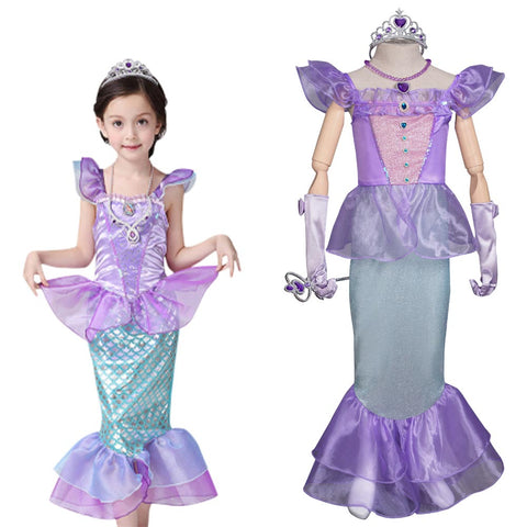 Girl Princess Mermaid Sequins Dress Halloween Carnival Birthday Party Clothes Kids Fancy Dress Up Costume Children