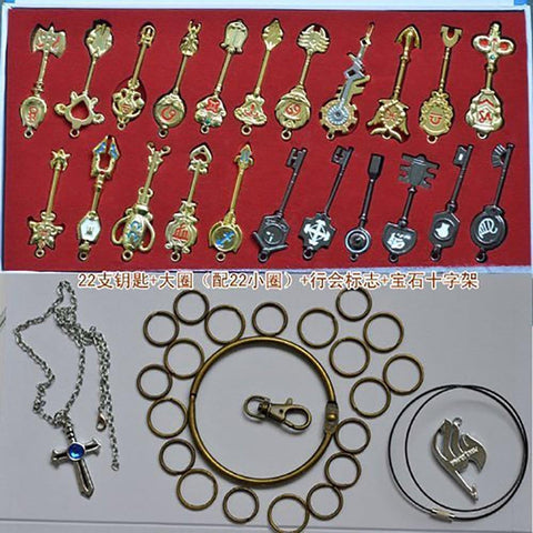 Fairy Tail Lucy Keys Golden Zodiac Keychain Necklace Pendant Set