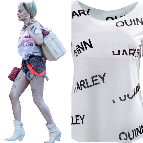 Harley Quinn Birds of Prey Top Women Summer T-shirt Costume