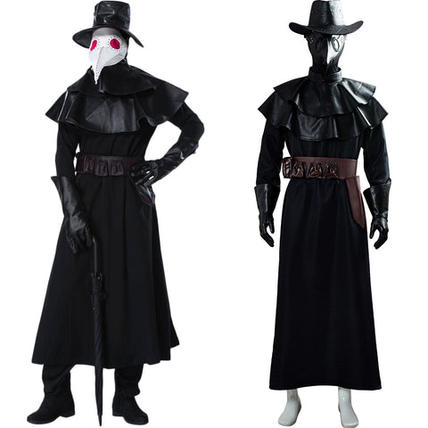 Halloween Costume Steampunk Plague Doctor Bird Beak Mask Long Robe Cape Outfit Cosplay Costume