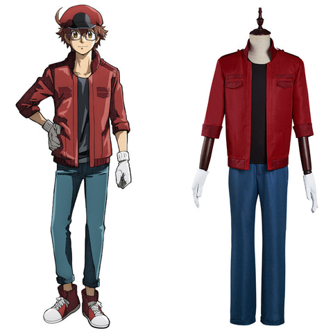 Cells at Work! Halloween Carnival Suit Code Black/Hataraku Saibou Black -Sekkekkyuu /Red Blood Cell Cosplay Costume Coat Pants Outfits