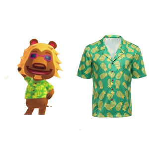 Adult Game Animal Crossing Cosplay T Shirt Bud Hawaiian Short Sleeve Shirts Cosplay Costume Halloween Carnival Costume