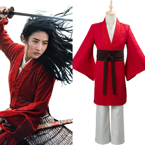 Movie Mulan 2020 Halloween Carnival Outfit Princess Hua Mulan Red Fancy Dress Chinese Han Fu Cosplay Costume for Kids/Children