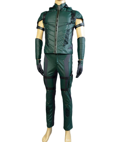 Green Arrow Season 4 Leather Cosplay Costume (No Quiver)